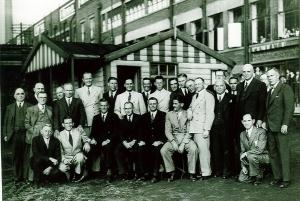 The Australian Cricket Team at Burton's factory, Leeds, 18 July 1934