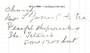 This image is from the personal diary of Sir William Ingilby and simply states 'Fearful shipwrecking The Titanic some 1200 lost' [Ref: WYL230/3600]