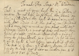 Recipe for 'Pea Soop'. Ref :WYL1352/C4/8/2