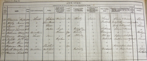 Admission and Admission and Discharge register, 1843-1843 PL/5/1a