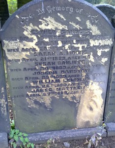 An example of one side of an Inscription or Guinea Grave in the Unconsecrated section of Beckett Street Cemetery from 1889